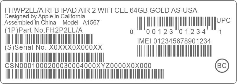 Số IMEI của sản phẩm được in cả trên hộp đựng iPadB