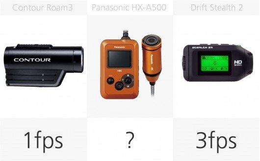 Action camera stills burst rate comparison (row 2)