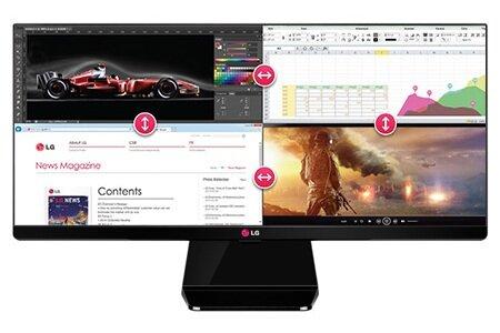 LG 29UM65 có thể chia thành 4 màn hình