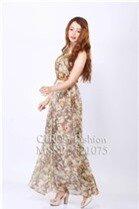 Đầm maxi (có 5 màu) voan hoa xếp li đi biển 521075 - Shop bán sỉ quần áo thời trang Title Nâu