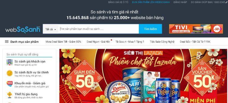 So sánh giá tại cổng thông tin so sánh giá Websosanh.vn trước khi mua hàng