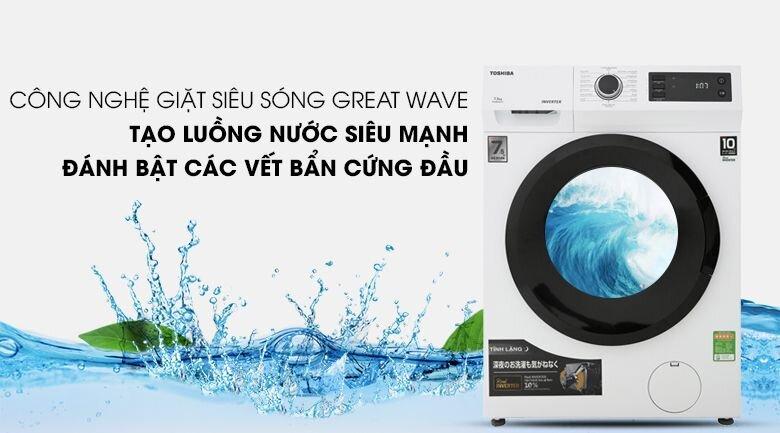 Máy giặt cửa ngang Toshiba có công nghệ phun nước 360 độ