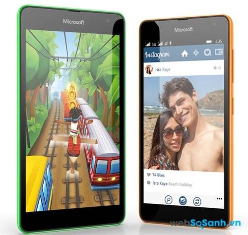Mọi thao tác dễ dàng với màn hình lớn 5 inch của Lumia 535