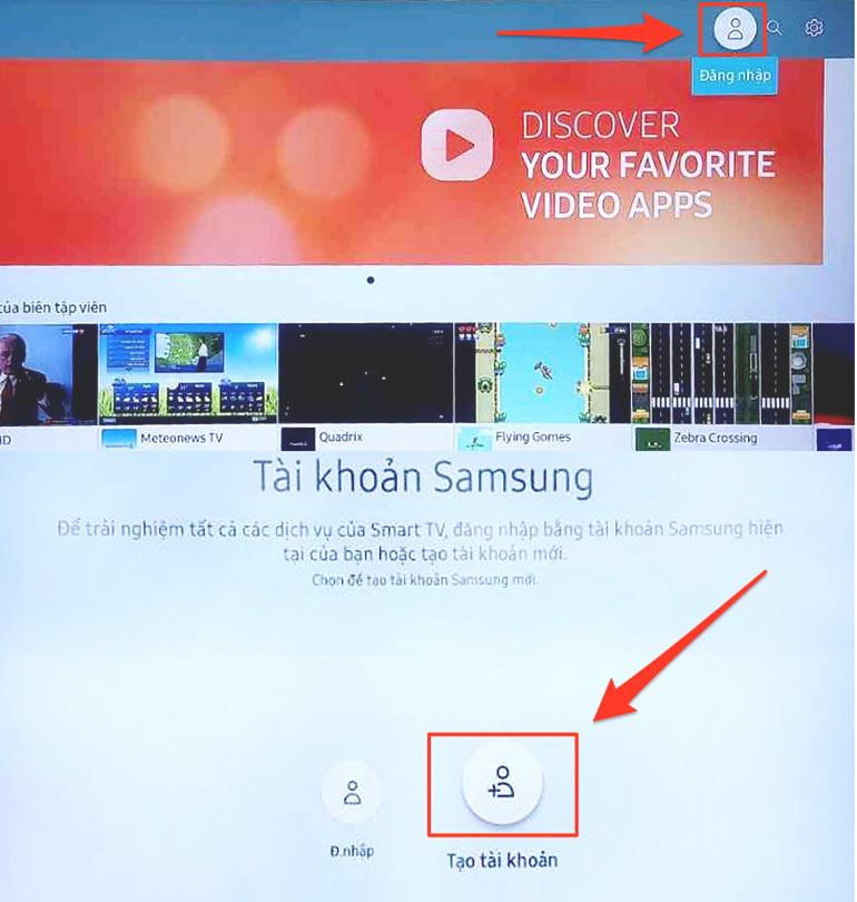 Hướng dẫn tạo tài khoản Account để tải về nhiều ứng dụng miễn phí trên smart tivi Samsung