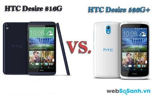 HTC Desire 816G và HTC Desire 526G Plus đều có thiết kế bằng nhựa