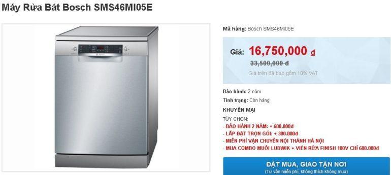 Máy rửa bát SMS46MI05E giảm sốc giá chỉ còn 16.750.000 vnđ