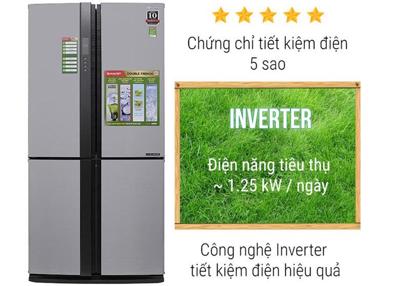 Tủ lạnh Sharp SJ-FX631V-SL công nghệ inverter tiết kiệm điện hiệu quả