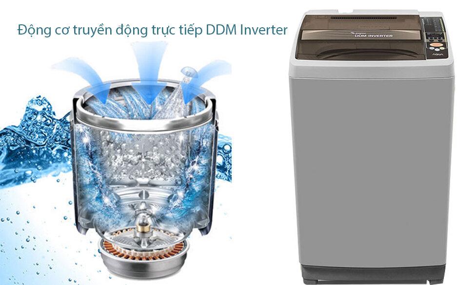 Máy giặt AQW-U125ZT(S) được thiết kế chắc chắn với màu bạc đẹp mắt