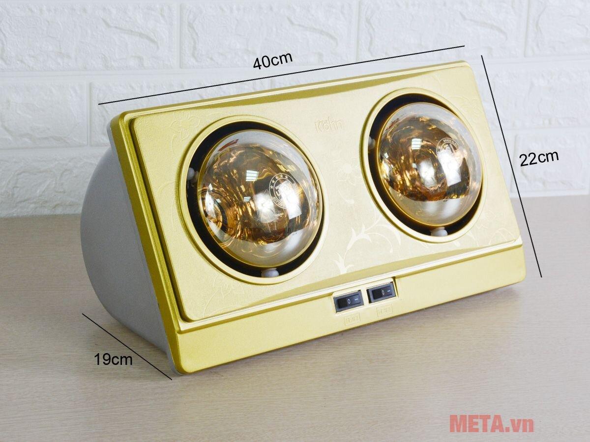 Đèn sưởi nhà tắm 2 bóng Kohn KN02G 550W có tốt không?