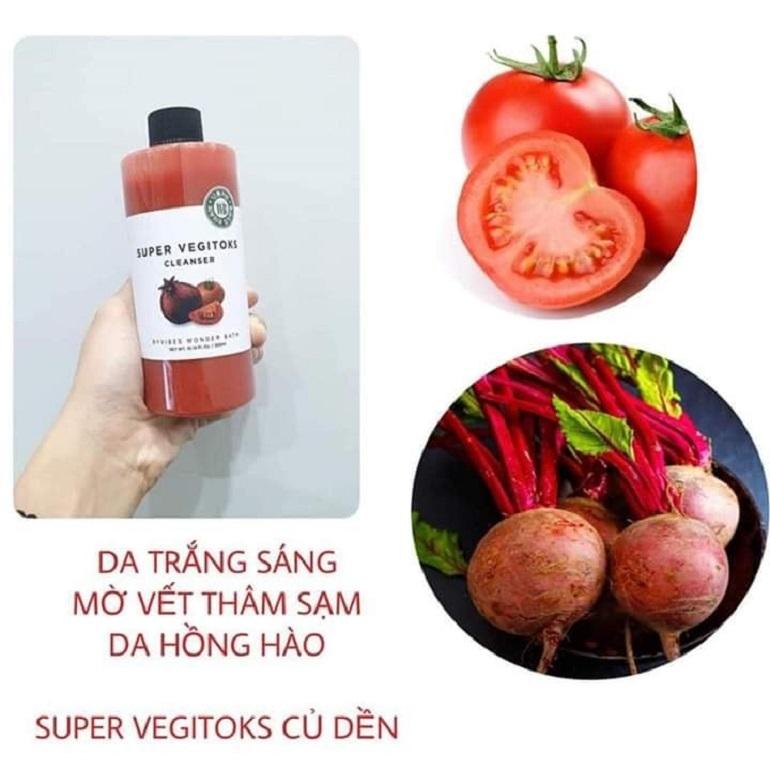 Super Vegitoks Cleanser màu đỏ giúp làm sáng da, rạng rỡ, tươi mới