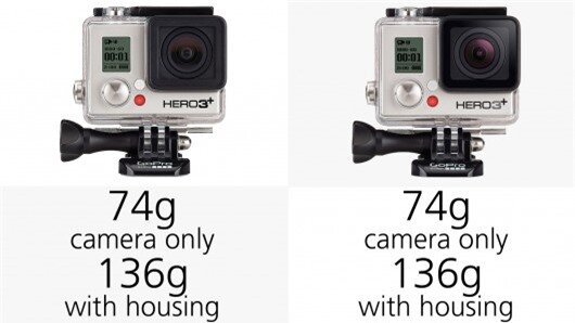 There's not much difference in weight between the GoPro Hero3+ and Hero4 cameras