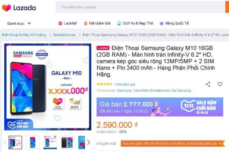 Điện thoại Samsung Galaxy M10 16GB - Giá giảm 26% chỉ còn 2.590.000 VNĐ
