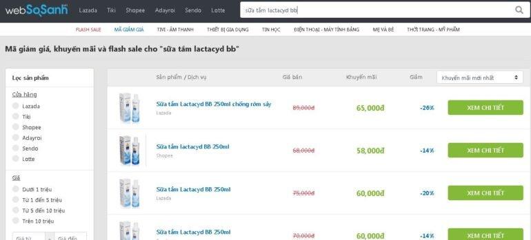 So sánh khuyến mãi trước khi mua với Websosanh Deals