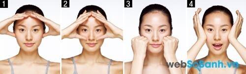 Động tác 5: Cuối cùng, massage tổng thể cho khuôn mặt từ trán, xuống má, cằm. Dùng hai ngón tay cái ấn nhẹ ở hai bên thái dương, dưới tai và hai bên sống mũi. Sử dụng các ngón tay và lòng bàn tay để tạo cảm giác dễ chịu cho bạn và làm căng da.