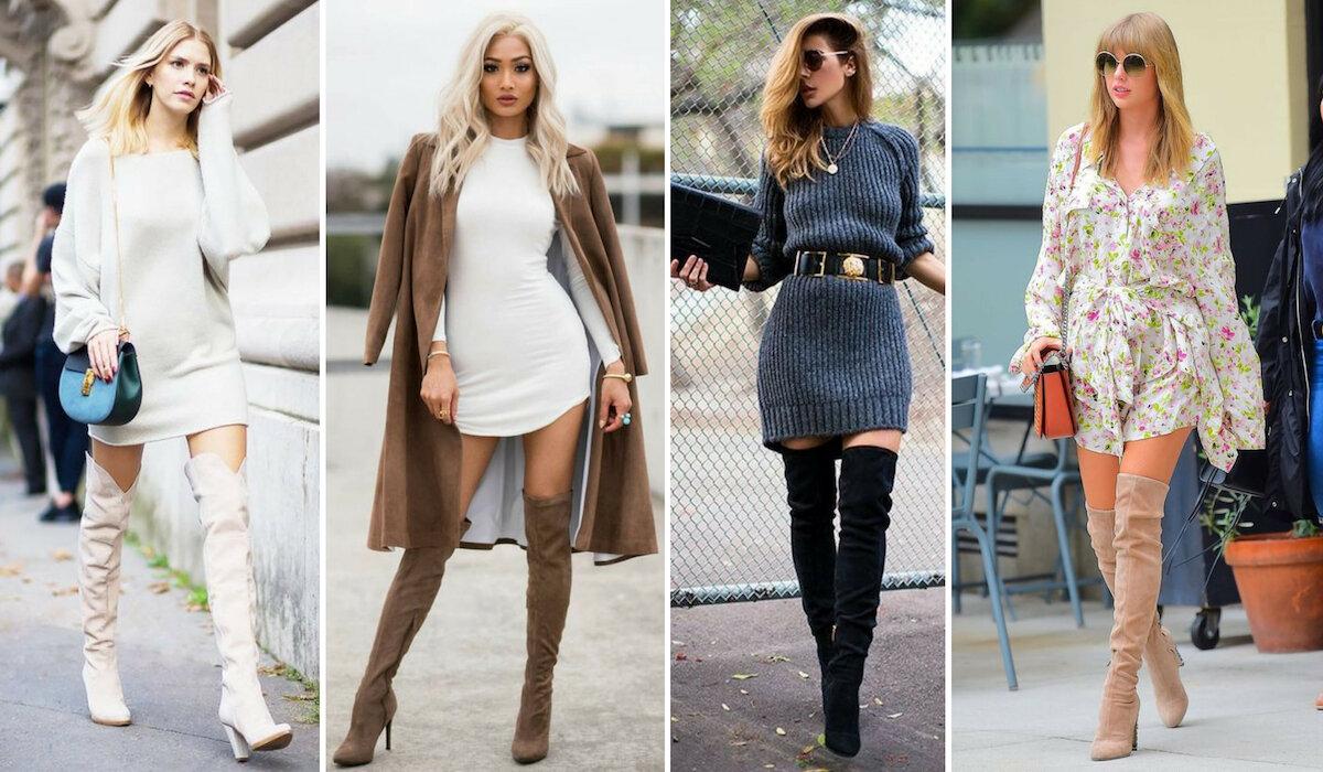 Giày boot nữ cổ cao với váy len liền thân là kết hợp phù hợp cho mùa đông này
