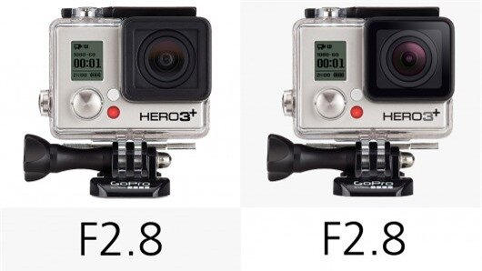 The GoPro Hero3+ cameras use F2.8 6 element aspherical glass lenses