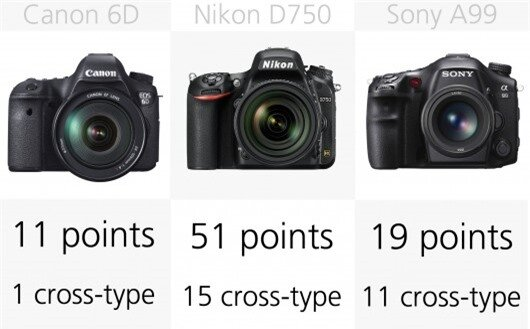 The Canon EOS 6D has just 15 autofocus points, while is considerably less than its competi...