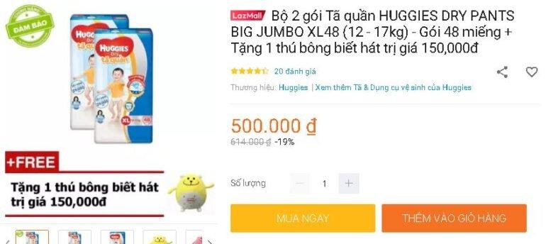 Bộ 2 gói Tã quần HUGGIES DRY PANTS BIG JUMBO XL48 (12 - 17kg) - Gói 48 miếng + Tặng 1 thú bông biết hát trị giá 150,000đ
