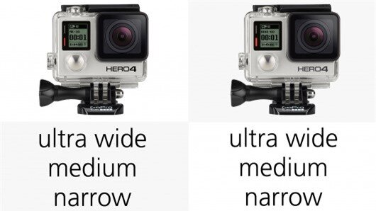 All of the GoPro Hero3+ or Hero4 cameras can shoot in wide, medium or narrow modes