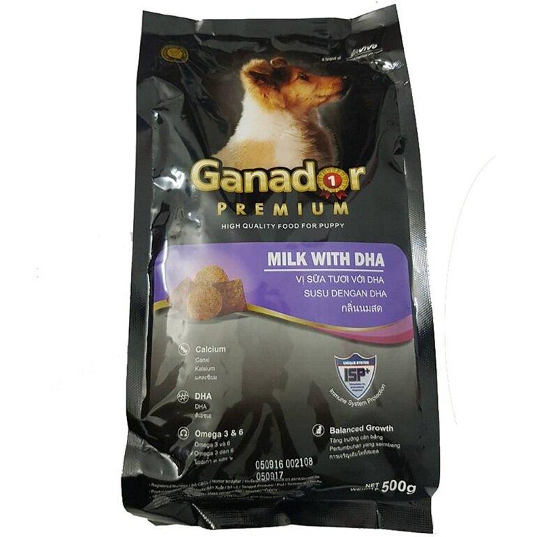 Thức ăn khô cho chó con Ganador vị sữa và DHA