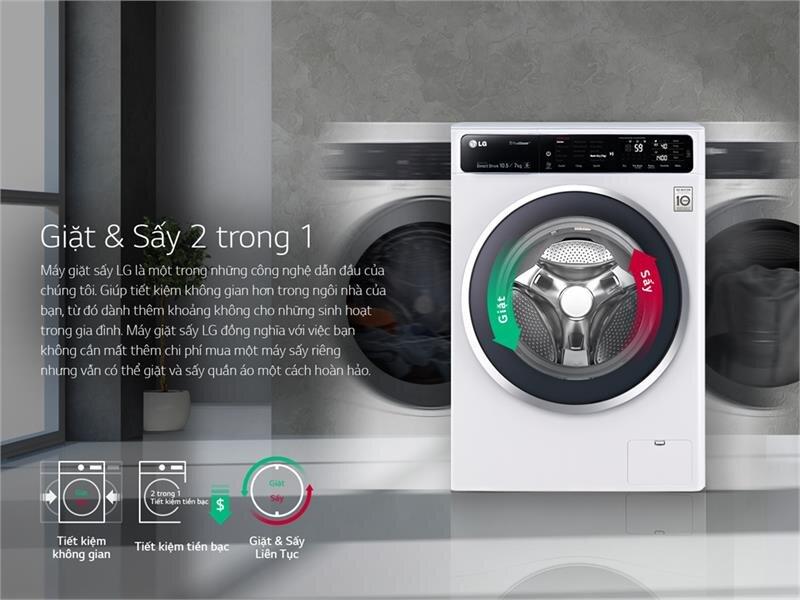 Công nghệ giặt sấy 2 trong 1 của máy giặt LG