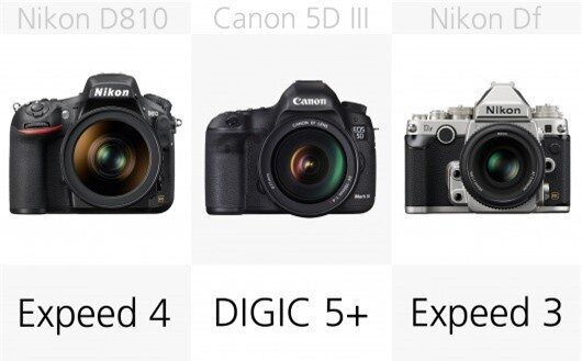 The Nikon Df uses the older Expeed 3 processor where the D750 and D810 use the Expeed 4