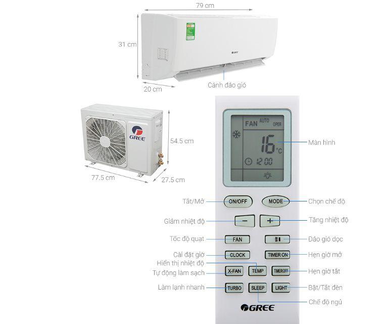 Điều hòa máy lạnh Gree 1 HP GWC09IB-K3N9B2I - Giá rẻ nhất: 5.390.000 vnđ