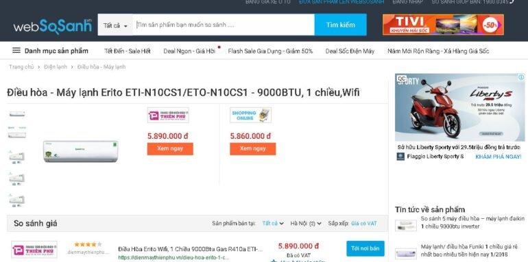 So sánh giá để tìm được các nơi bán điều hòa Erito chính hãng với giá tốt nhất