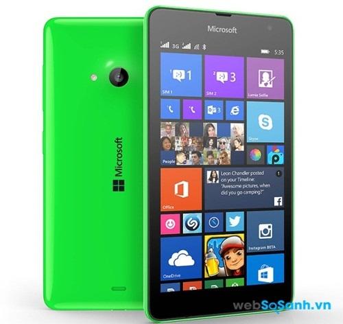 Điện thoại Lumia 535 mềm mại hơn nhờ các góc được bo tròn