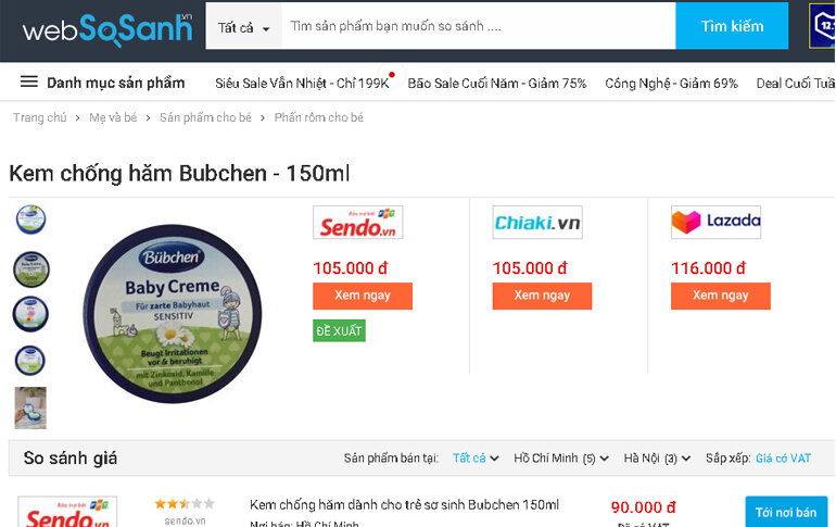 Kem chống hăm Bubchen của Đức 150ml - Giá rẻ nhất: 90.000 vnđ