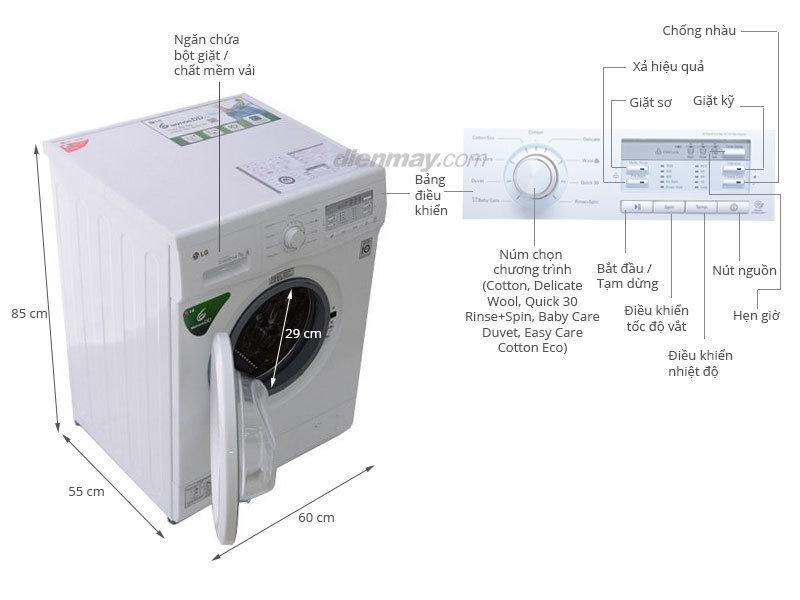Máy giặt LG WD 8600 thiết kế nhỏ gọn phù hợp với mọi không gian sống