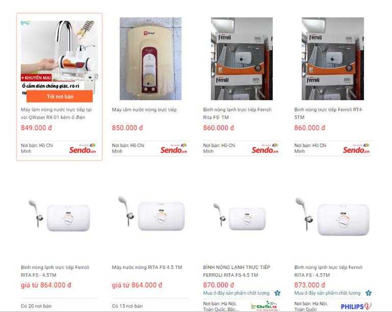 Bình nóng lạnh trực tiếp có thương hiệu nổi tiếng bán giá chỉ dưới 1 triệu