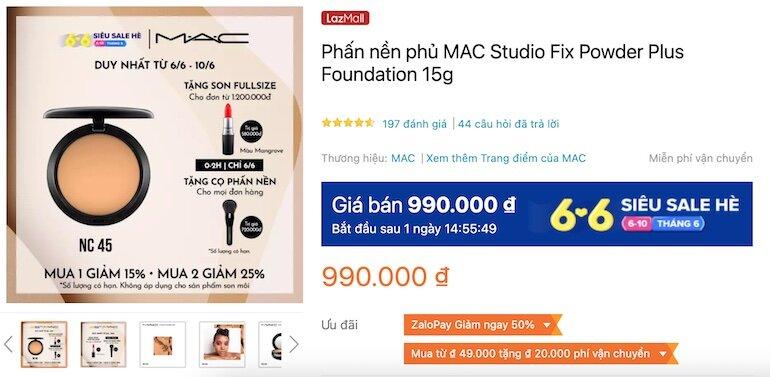 Phấn nền phủ MAC Studio Fix Powder Plus Foundation 15g 990,000