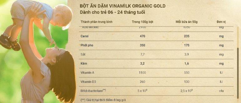 Bột ăn dặm Vinamilk Organic Gold gạo sữa có tốt không ?