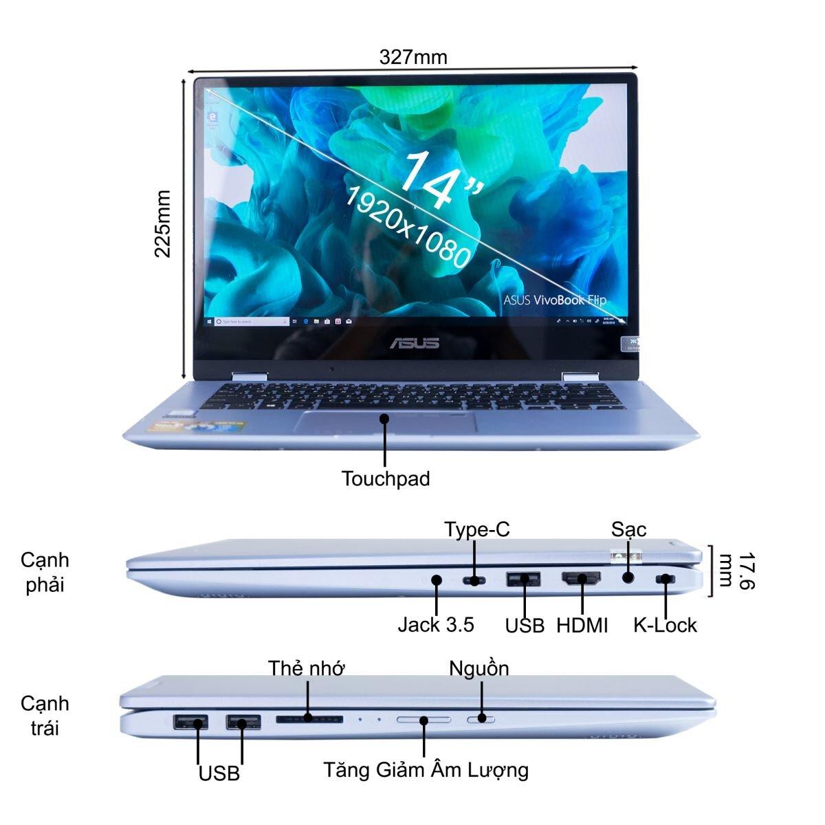Laptop Asus Vivobook Flip TP412UA-EC173T nhiều tính năng
