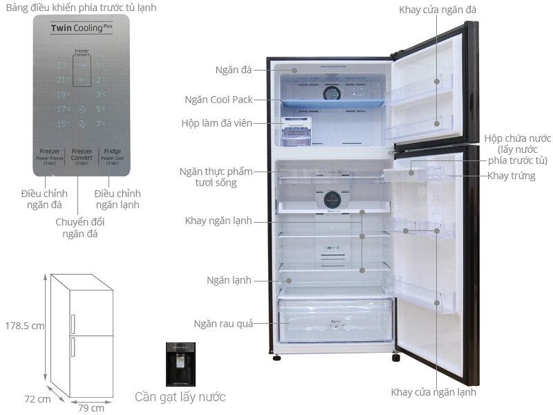Tủ lạnh Samsung RT50K6631BS/SV với ngăn đá 125L và ngăn lạnh 377L.