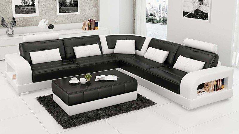 Phòng khách hiện đại với sofa da cao cấp