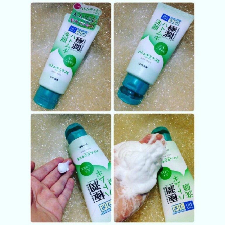 Kết cấu và thành phần sữa rửa mặt Hada Labo Gokujyun Face Wash