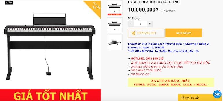 Đàn Piano điện Casio CDP-S100BK