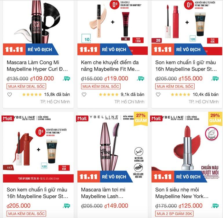 Giảm 30k khi mua sản phẩm tại gian hàng chính hãng thuộc shop L'oreal, Maybelline trên Shopee