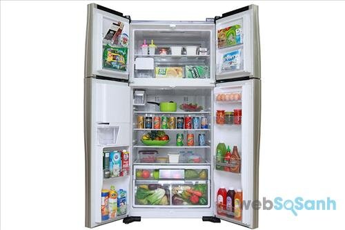 Tủ lạnh side by side Hitachi 4 cửa R-W660FPGV3X GBK 540 lít