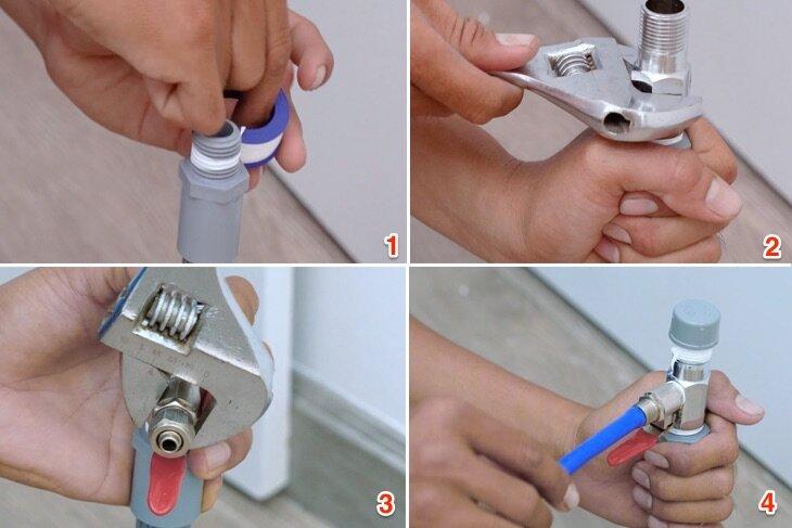 Cách lắp máy lọc nước đúng là nên sử dụng dụng cụ chuyên dụng để siết các đầu nối với nhau