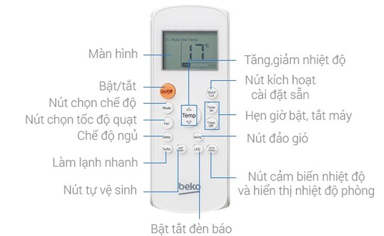 Xem chi tiết các chức năng trên điều khiển điều hòa Beko