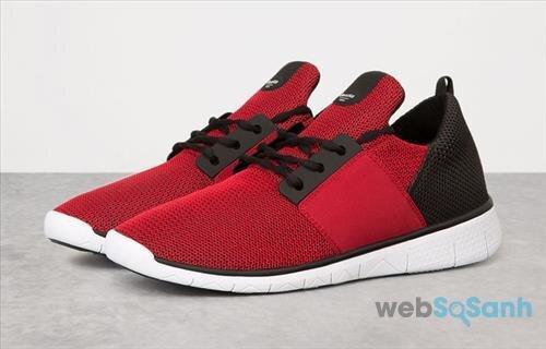 Bershka Men's technical fabric sneakers với sự kết hợp đỏ - đen cực ngầu nhưng không kém phần trang nhã