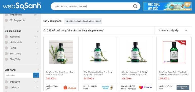 Giá sữa tắm The Body Shop Tea Tree bao nhiêu?