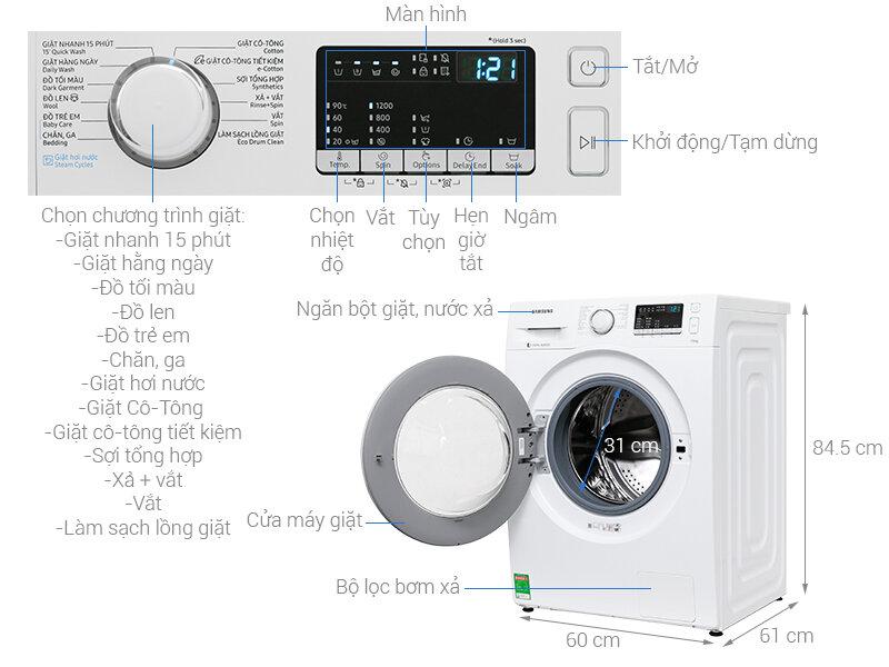 Máy giặt Samsung cửa ngang WW75J42G0KW/SV
