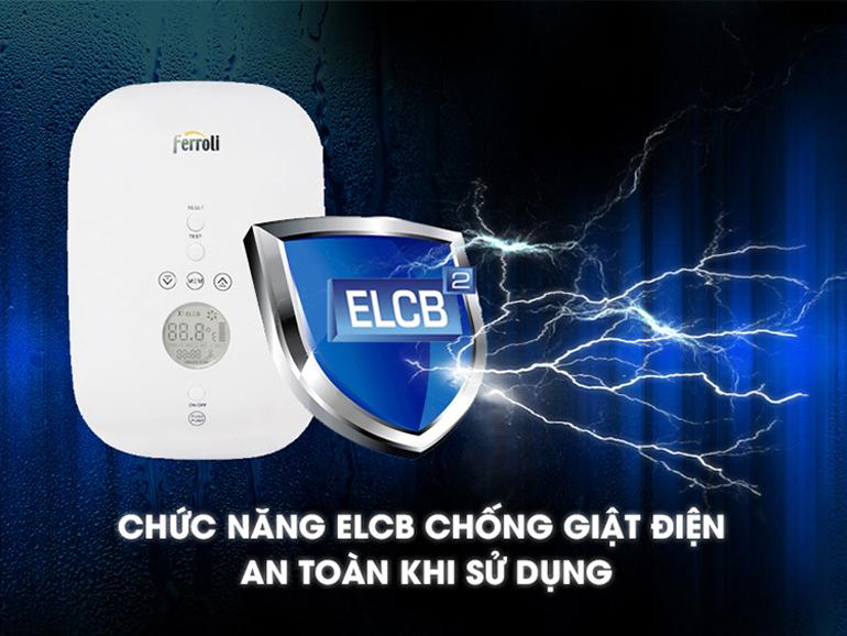 Bình nóng lạnh nóng trực tiếp Ferroli DIVO SDN có chức năng chống giật điện ELCB để đảm bảo an toàn cho người sử dụng.