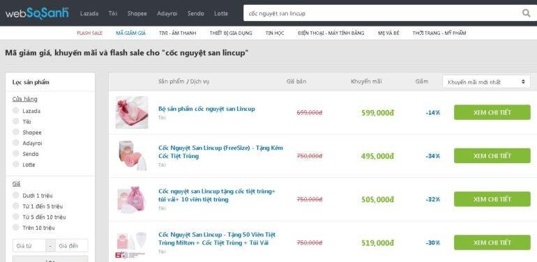 Cốc nguyệt san Lincup của Mỹ giảm sốc 34% giá chỉ còn 495.000 vnđ