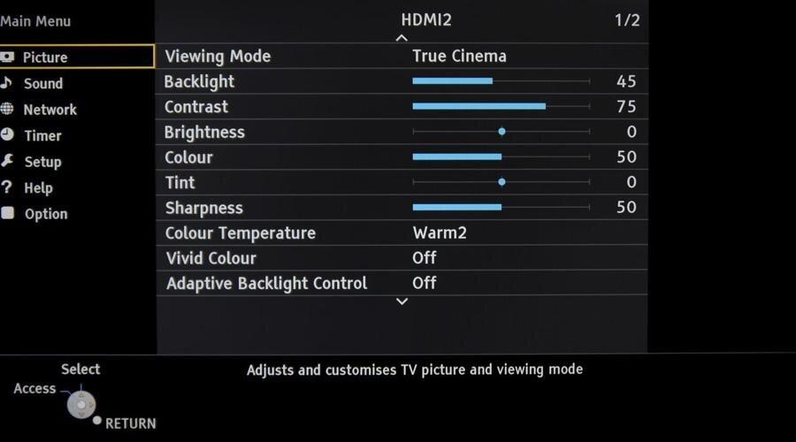 điều chỉnh hình ảnh cho tivi