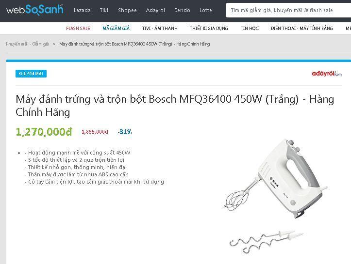 Máy đánh trứng và trộn bột Bosch MFQ36400 450W (Trắng) - Hàng Chính Hãng